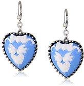 """Betsey Johnson Lady Lock"""" Love Birds Cameo Heart Drop Earrings"""