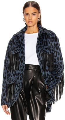 Andamane Evita Fringe Jacket in Blue Leo | FWRD