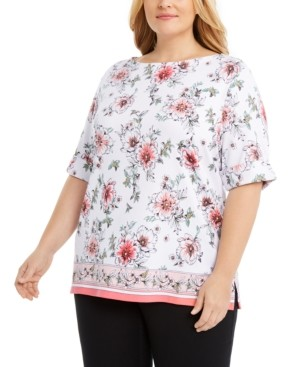 Karen Scott Plus Size Rebecca Floral Border-Print Top, Created for Macy's