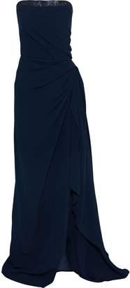 Oscar de la Renta Strapless Draped Bead-embellished Cady Gown