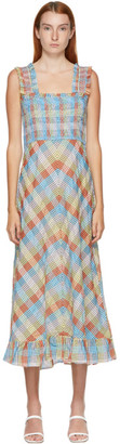 Ganni Multicolor Seersucker Check Mid Length Dress