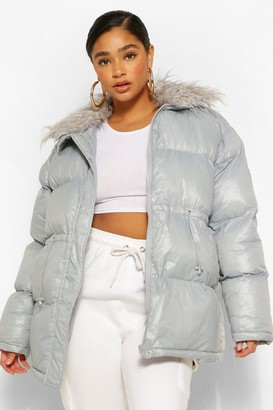 boohoo Plus Padded High Shine Puffer With Faux Fur Collar