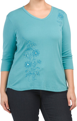 Plus Solid Embellished Sequin Trim Knit Top