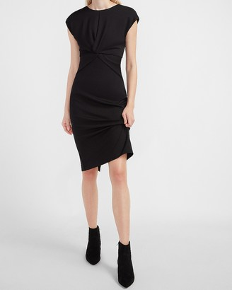 Express Cap Sleeve Twist Front Sheath Dress