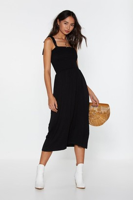 Nasty Gal Womens Forget What You Shirred Tie Midi Dress - Black - 10
