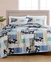 Martha Stewart Collection Contrast Patchwork Cotton Reversible Twin Quilt, Created for Macy's