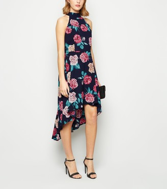 New Look Mela Floral High Neck Dip Hem Dress