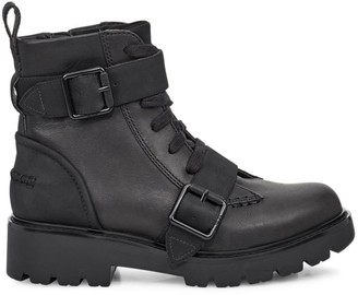 UGG Noe Mixed-Media Leather Combat Boots