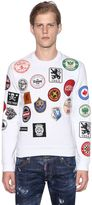 DSQUARED2 Military Glam Patches Cotton Sweatshirt