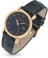 Raymond Weil Blue Dial 18K Gold and Croco Leather Dress Watch