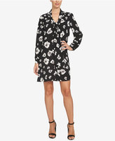 CeCe Printed Tie-Neck Shift Dress