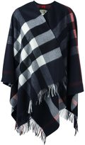 Burberry checked fringed poncho - women - Cashmere/Merino - One Size