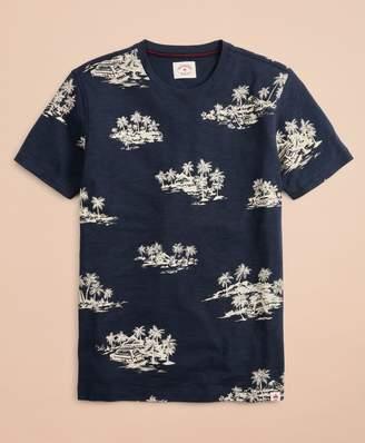 Brooks Brothers Tropical Print Slub Cotton Jersey T-Shirt