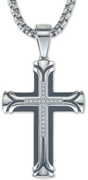 "Esquire Men's Jewelry Diamond Cross 22"" Pendant Necklace (1/10 ct. t.w.) in Ion-Plated Stainless Steel, Created for Macy's"