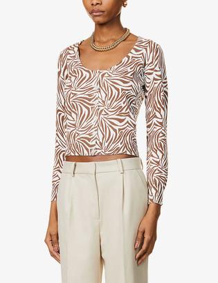Musier Paris Sasha zebra-print cotton-knit cardigan