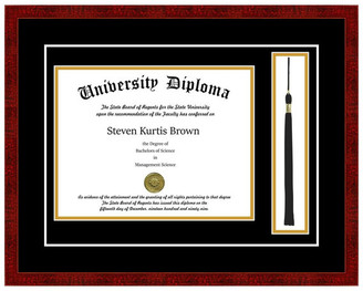 "Perfect Cases, Inc. Single Diploma Frame w/ Tassel & Double Matting, Classic Cherry, 8.5""x"