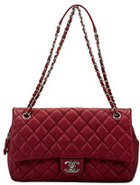 One Kings Lane Vintage Chanel Cherry Red Jumbo Flap Bag - Vintage Lux - cherry red/silver