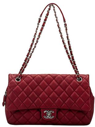 One Kings Lane Vintage Chanel Cherry Red Jumbo Flap Bag - Vintage Lux