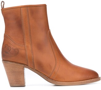 Etro Calf Leather Ankle Booties