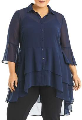 Estelle Plus Amy Tiered High/Low Blouse
