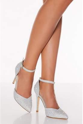 Quiz Silver Shimmer Diamante Court Heel