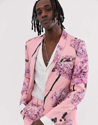 Twisted Tailor skinny linen suit jacket with floral print-Pink