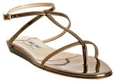 gold metallic leather 'Fiona' flat thong sandals