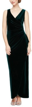 Alex Evenings Velvet Tulip-Overlay Gown