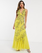 Asos Design DESIGN bias cut chiffon maxi dress with floral embellishment