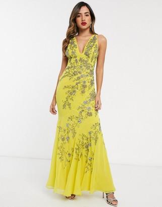 ASOS DESIGN bias cut chiffon maxi dress with floral embellishment