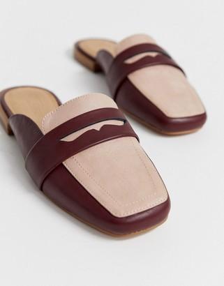 Asos Design DESIGN Majestic mule loafer in burgundy and beige-Multi