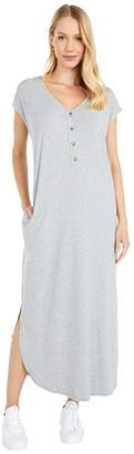 Mod-o-doc Cotton Modal Spandex Short Sleeve Henley Maxi Dress (Smoke Heather) Women's Clothing