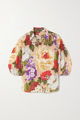 Dolce & Gabbana Floral-print Silk Blouse - Beige