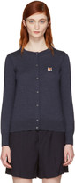 MAISON KITSUNÉ Navy Fox Head Patch Cardigan