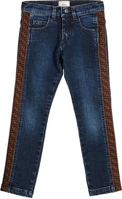 Fendi Girl's Denim Jeans w/ Logo Tape Sides, Size 8-14
