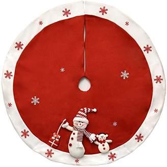 """Gift Boutique Elegant Red Christmas Tree Skirt 45"""" Plush Snowman with White Snowflakes Border"""