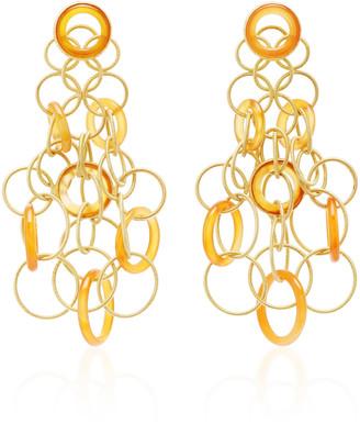 Buccellati Hawaii 18K Gold And Carnelian Earrings