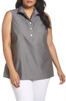 Foxcroft Plus Size Women's Dani Button Back Sleeveless Top