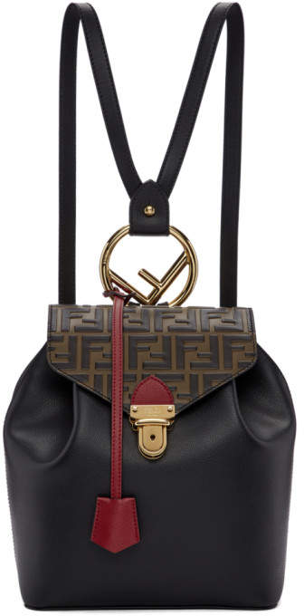 Fendi Black Forever Flap Backpack