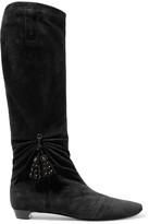 Roger Vivier Embellished gathered suede knee boots