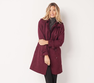 Linea by Louis Dell'Olio Faux-Suede Double-Breasted Trench Coat