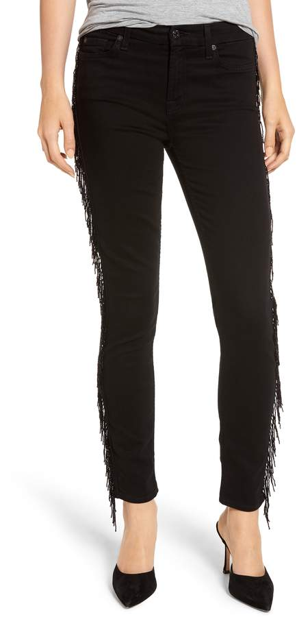 7 For All Mankind Beaded Fringe Ankle Skinny Jeans