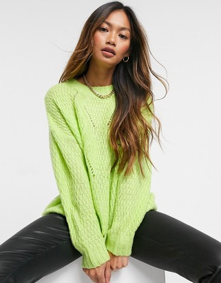 AX Paris chunky chevron cable knit jumper in lime