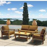 Atlantic Amazonia Teak San Francisco Deluxe 4-piece Deep Seating Set with Sunbrella Cushions