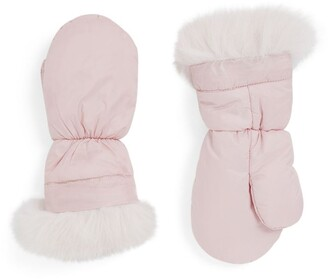 Yves Salomon Enfant Fox Fur Trim Padded Gloves