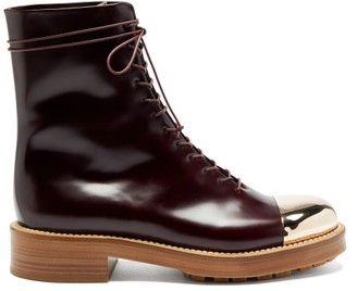 Gabriela Hearst Riccardo Toe-cap Leather Lace-up Boots - Burgundy Gold