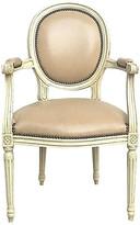 One Kings Lane Vintage Medallion Back Louis XVI Armchair - Vermilion Designs - cream/brass/tan