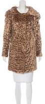 Blumarine Knee-Length Faux-Fur Coat