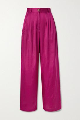 AVAVAV Pleated Satin Wide-leg Pants - Pink
