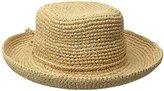 Scala Women's Crocheted Raffia Hat with Drawstring